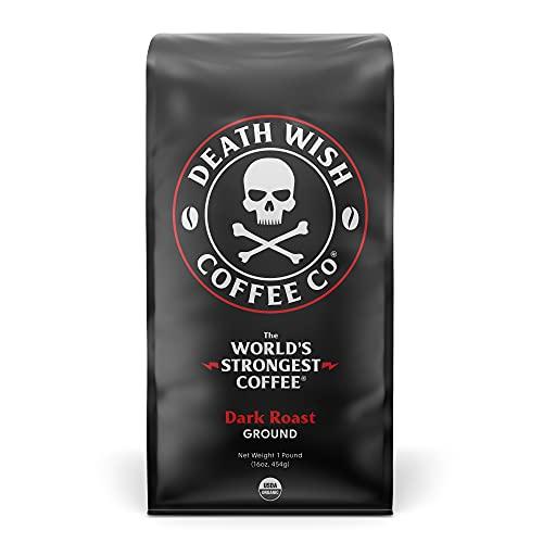 DEATH WISH COFFEE Ground Coffee Dark Roast [16 oz.] The World's Strongest...