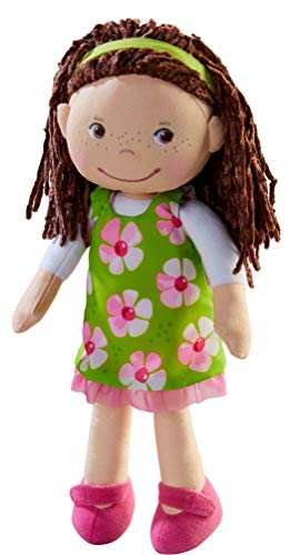 """HABA Coco 12"""" Soft Doll with Brown Hair, Embroidered Face, Removable Green..."""