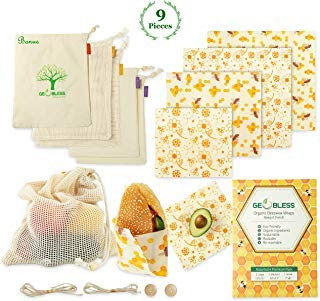 Geobless Beeswax Wraps and Reusable Produce Bags (8-Pc. Bundle)...