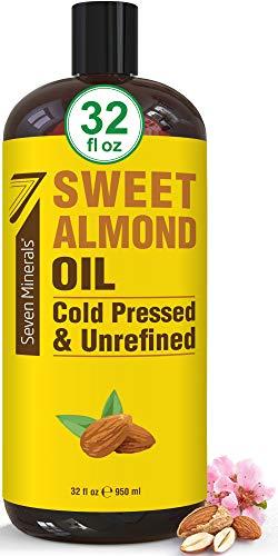Pure Cold Pressed Sweet Almond Oil - Big 32 fl oz Bottle - Unrefined & 100%...