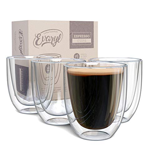 Double Wall Espresso Cup Set of 4 - Insulated Expresso Coffee Cups Sets -...
