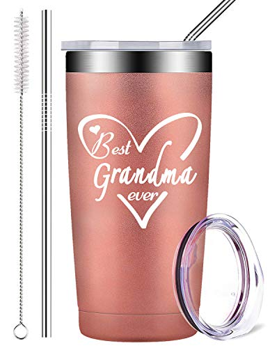 Best Grandma Ever Birthday Gifts, Stainless Steel Mug Tumbler with Lid and...