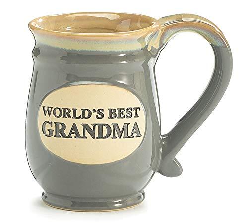 Coffee Cup Worlds Best Grandma Hot Tea Mug Gray Porcelain 14 oz with Tan,...