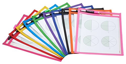 TYH Supplies 10-Pack Reusable Dry Erase Pockets 9 x 12 Inches Assorted Neon...