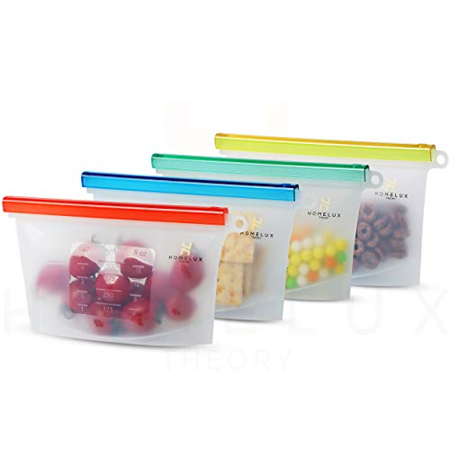 Homelux Theory Reusable Silicone Food Storage Bags | LEAKPROOF, AIRTIGHT |...