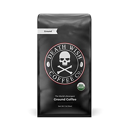 DEATH WISH COFFEE Dark Roast Coffee Grounds [16 oz.] The World's Strongest...
