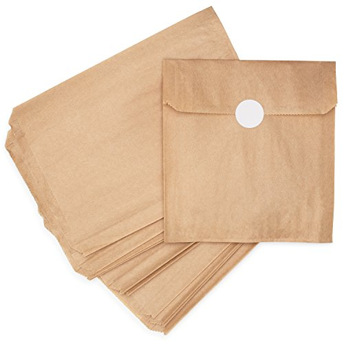 Natural Kraft Brown Paper Snack Sandwich Bags + White Stickers for Sealing....