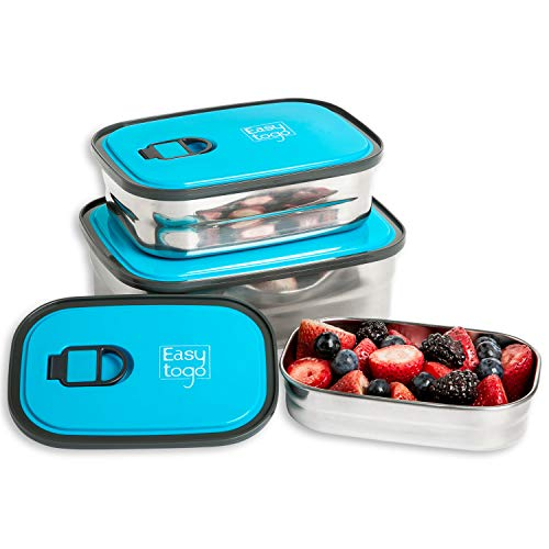 Leak Proof Bento Lunch Box Set   Reusable 3 Pack   Nesting Stainless Steel...