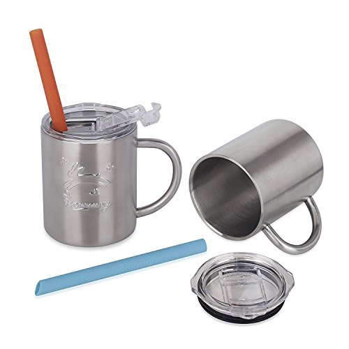 Housavvy Stainless Steel Kids Cups with Straws and Lids,Double Wall Rabbit...