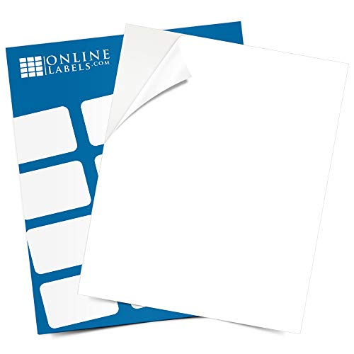 Sticker Paper, 100 Sheets, White Matte, 8.5 x 11 Full Sheet Label, Inkjet...