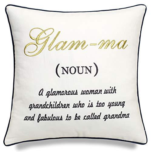 EURASIA DECOR Glamma Definition Embroidered Decorative Square Accent Pillow...