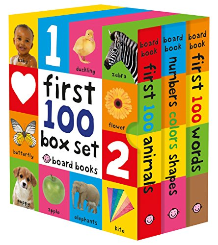 First 100 Board Book Box Set (3 books): First 100 Words, Numbers Colors...
