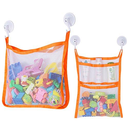 SUNDOKI Bath Toy Organizer, Bath Toy Holder Storage Bags with 4 Suction Cup...