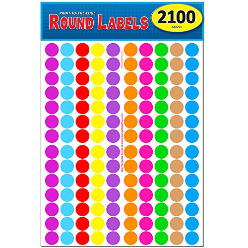 Pack of 2100 3/4' Round Color Coding Circle Dot Labels, 10 Bright Neon...