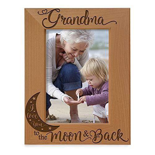 KATE POSH - Grandma I Love You to the Moon and Back Engraved Natural Wood...