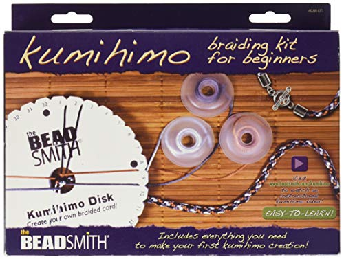The Beadsmith Kumihimo Starter Kit with Disk, Adhesive, Bobbins, Findings,...