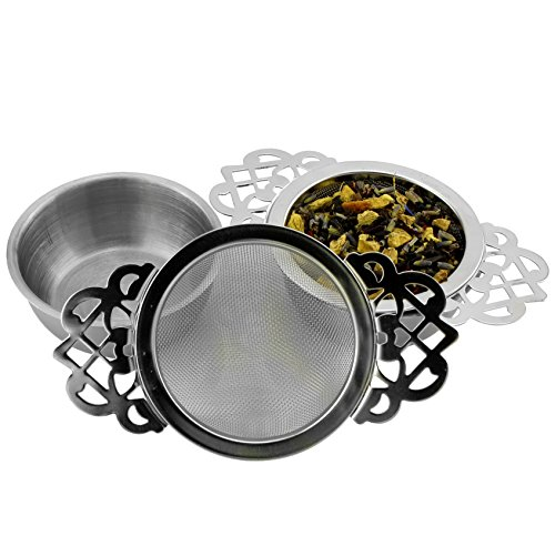 Solstice Empress Tea Strainers with Drip Bowls (2-Pack); Elegant Stainless...