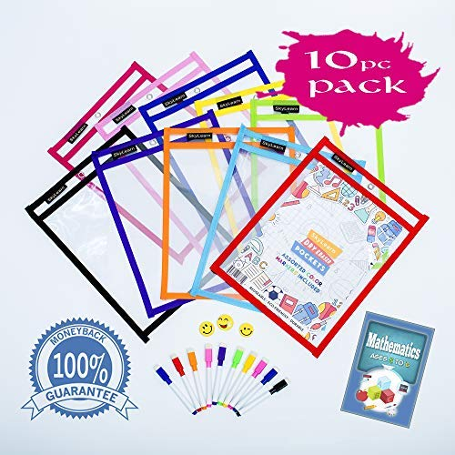 Dry Erase Pockets With 10 Assorted Colors Markers, Bonus Ebook For Teaching...
