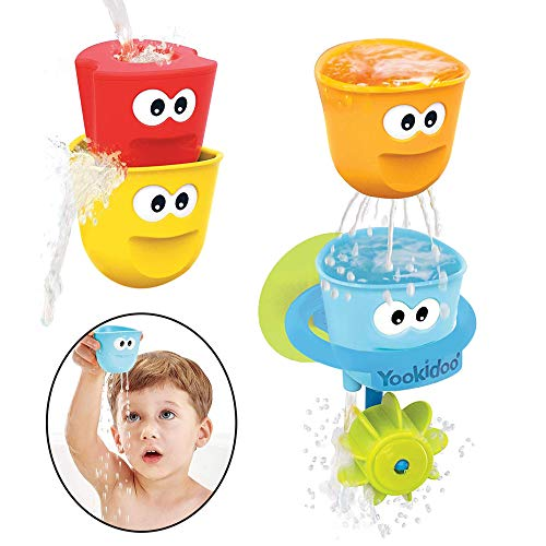 Yookidoo Baby Bath Toys - Fill 'N' Spill Set of Four Stackable Cups with...