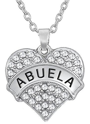 Lovely Heart Shape with ABUELA Engraved Pendant Necklace For Grandma Gift...