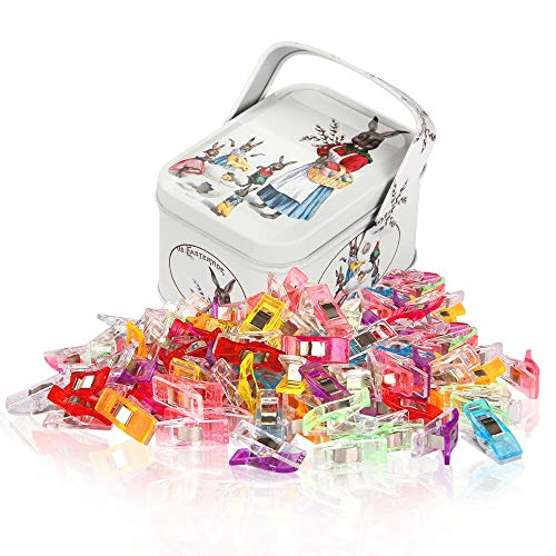 Sewing Clips and Quilting Clips,Fabric,Craft Clips with Tin Box...