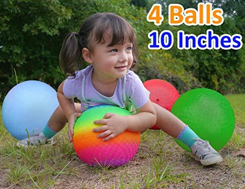 Playground Balls 10 inch Dodgeball (Set of 4) Kickball for Boys Girls Kids...