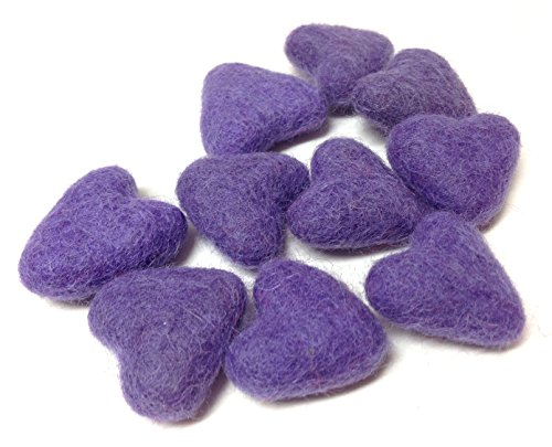 Yarn Place Felt Wool Felted Sculpted Hearts 10 Piece (Lavender)