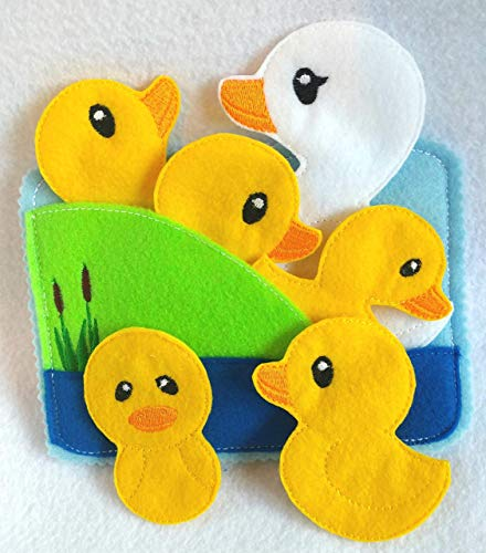 5 little ducks Felt quiet book toddler page and flannel board play set -...
