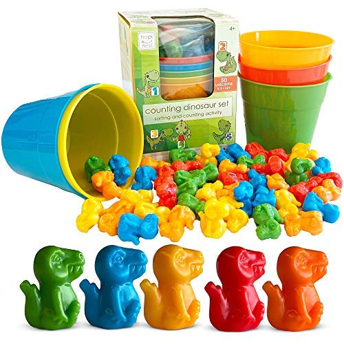 Hapinest Dinosaur Color Sorting and Counting Activity Set - Educational...