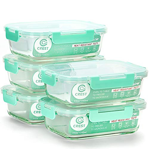 [5-Pack,34Oz] Glass Containers for Meal Prepping - Food Storage Containers...