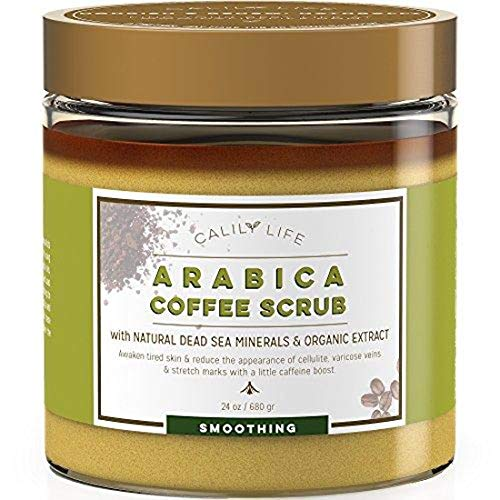 Calily Life Organic Arabica Coffee Scrub with Dead Sea Minerals, 23.28 Oz