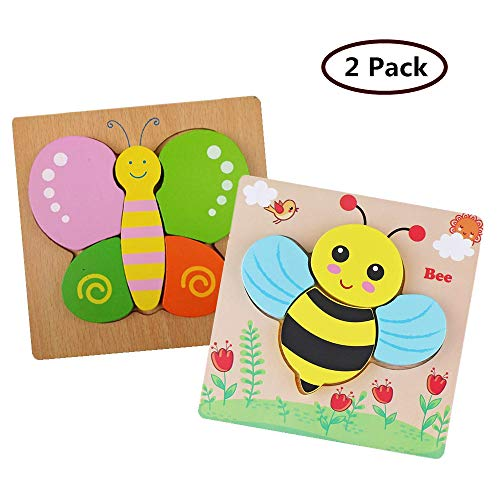 DDMY Wooden Jigsaw Puzzles Set for Kids Age 1 2 3 4 Year Old, [2 Pack]...