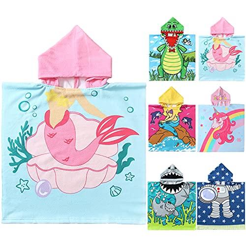 NovForth Kids Beach Towel for Boys Girls, Mermaid Hooded Bath Towel Wrap,...