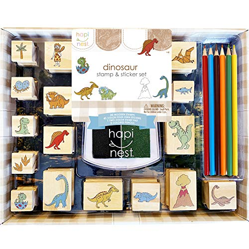 Hapinest Dinosaur Stamp and Sticker Set for Kids Boys Arts and Crafts Kits...