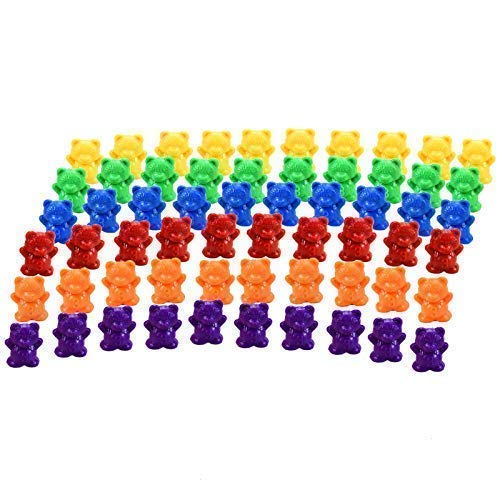 Timoo Colored Counting Bears, 60 PCS Color Sorting Bears (Green & Purple &...