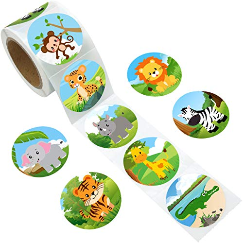 Zoo Animal Sticker Jungle Friends Perforated 200Pcs Per Roll for Kids Party