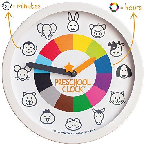Animal Preschool Clock - Time Teacher 12 Inch Educational Silent Wall Clock...