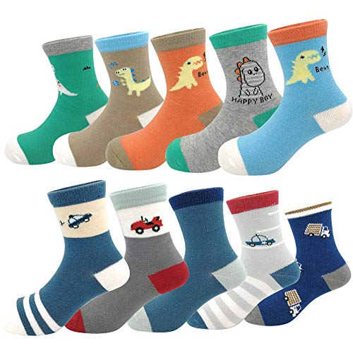 Toddler Kids Little Boys Fashion School Cotton Crew Socks 10 Pack (Size...