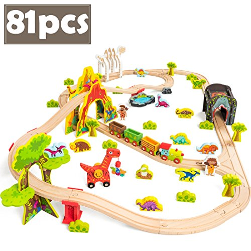 COSSY Dinosaur Theme Wooden Train Set - 81 pcs Railway Tracks &...