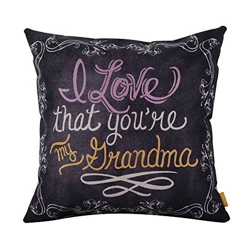 LINKWELL 18inches Square Black I Love That You are My Grandma Linen Throw...