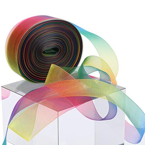 """Molshine 50yd x 1"""" Sheer Organza Ribbon, Premium Quality Shimmer Ribbons,..."""