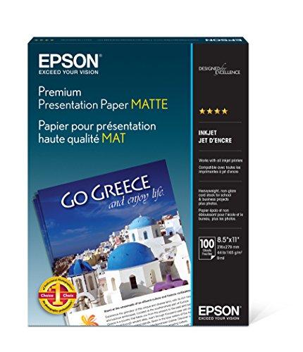 Epson Premium Presentation Paper MATTE (8.5x11 Inches, 100 Sheets)...