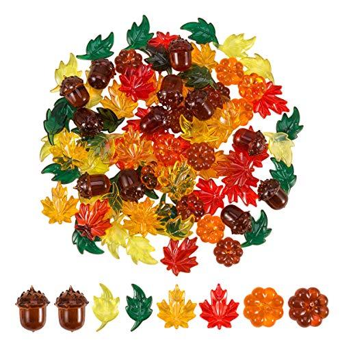 84 Pieces Acrylic Leaves Mini Acrylic Pumpkin Maple Leaves Acorns Crystals...