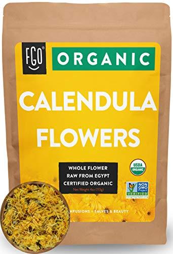 Organic Calendula Flowers | Whole | 4oz Resealable Kraft Bag | 100% Raw...