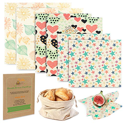 Reusable Beeswax Food Wrap 6 Pack – 2L, 2M, 2S – Eco-Friendly Reusable...