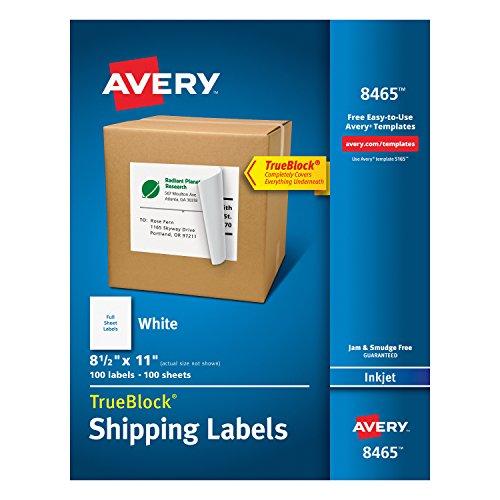 Avery Shipping Address Labels, Inkjet Printers, 100 Labels, Full Sheet...
