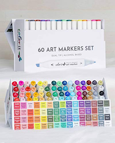 ColorIt 60 Dual Tip Art Markers Set For Coloring - Double Sided Artist...