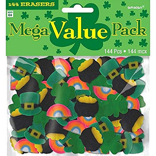 Amscan 394944 St. Patrick's Day Mini Rubber Erasers, 144 Ct.   Assorted...