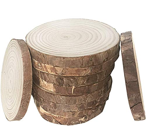 """Fuhaieec 10pcs 3.5""""-4"""" Unfinished Natural Wood Slices Circles with Tree..."""