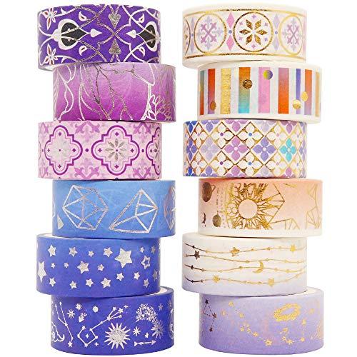 YUBBAEX Poetic Gold Washi Tape Set VSCO Floral Silver Foil Masking Tape...